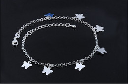 Wholesale Wholesale Dance Sandals - Elegant S925 Butterfly Anklets Sterling Silver Women Anklets Yoga Dance Foot Chain Ankle Bracelets Beach Jewelry Barefoot Sandals