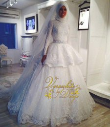 Wholesale Shine Wedding Gown - Shining Ball Gown Muslim Wedding Dresses Ivory Lace High Neck Long Sleeves with Appliques Covered Button Back Court Train 2015 Bridal Gowns