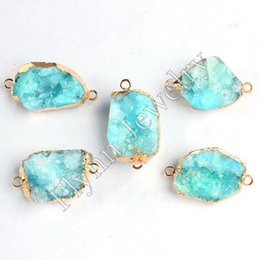 Wholesale Gold Aquamarine Pendant - Different Natural White Crystal Druzy Geode Dyeing Aquamarine Connector Charms Double Hook Fashion Jewelry DIY Making 5pcs lot