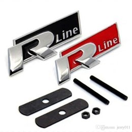 Wholesale R Line Passat - FAST SHIPPING R line Metal 3D Front Hood Grill Badge Car Emblem stickers for VW Golf 6 Jetta MK5 MK6 POLO passat B5 B6 B7