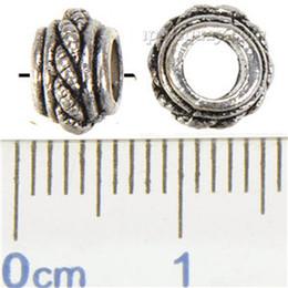 Mic rondas de prata on-line-MIC Pandora DIY Grande Buraco Beads Atacado Europeu Pulseira Colar Artesanato Rodada Tecer Prata Banhado Descobertas Jóias Navio Livre 7 * 5mm 300 pcs