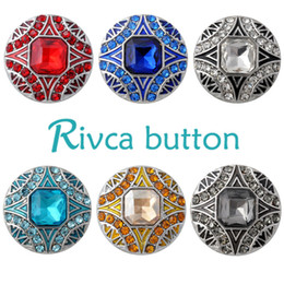 Wholesale rhinestone charm sliders - Rivca Snap Button charms Jewelry High quality styles 18mm Metal Noosa chunk Rhinestone Styles Ginger Snaps Bracelets For Women