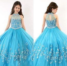 Wholesale China Made Dresses For Sale - High Neck Long Blue Girls Pageant Dresses 2015 Ball Gown Tulle Cheap China Made Beaded Top Formal Flower Girls For Wedding Party Hot Sale