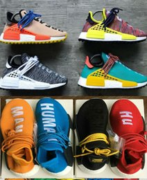 Wholesale fall colors - Top Quality REAL BOOST BB0619 Yellow 2018 Pharrell Williams X HUMAN RACE Shoes Bottom With Nipples mix 7 colors Men Running Shoes