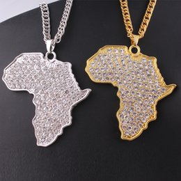 Wholesale Africa Crystal - Gold&Silver long necklace High quality Crystal Map of Africa pendant necklace Hip Hop Style Accessories For women&men