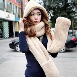 Wholesale Hat Gloves Mittens - New Fluffy Plush Animal Hood Hats With Long Scarf And Mittens Huskey Winter Hat Scarf Gloves One Piece Set Thermal Scarf D114