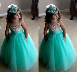 Wholesale Yellow Toddler Wedding Dress - Cute Turquoise Green Flowe Girls Dresses Spaghetti Straps Crystal Beaded Tulle Ball Gown Toddler Infaint Pageant Dresses For Girls