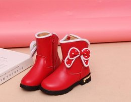 Wholesale Korean Red Tube - 2017 new girl snow boots winter children's shoes children's boots Korean version of the bow in the tube single