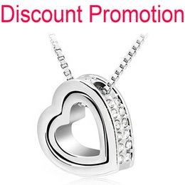 Wholesale Double Heart Crystal Necklace - Wholesale-Promotion 18K White yellow Gold Plated Austrian Crystal rhinestones float floating double Heart Pendant Necklace jewelry 117