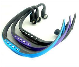 Wholesale Headphone Mp3 Player Sd Card - Sport MP3 Headset Music Player TF  Micro SD Card Slot Wireless Headphone Earphone 4 color DHL freeshipping