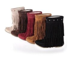 Wholesale Womens Leather Boots Fringe - HOT Womens rivet fringe Slouchy Hidden Wedge Moccasin ankle boots Plus