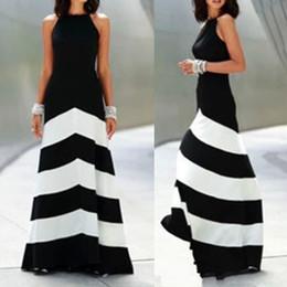 Wholesale Maxi Black Stripe Dress - Wholesale-Summer style O-neck Sleeveless Fashion Black and white stripes Splice Sexy long maxi party dress vestidos Free shipping
