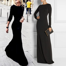 Wholesale Women Jersey Evening Dress - Less is more simple black evening dress with jewel neck Long sleeves sexy backless sheath jersey elastic prom party wear gowns for women