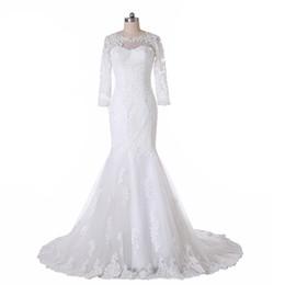 Wholesale Muslim Best Wedding Dresses - Latest Design 2016 Mermaid Lace Wedding Dresses W1489 Long Poet Sleeve Sheer Sweep Train Custom Made High Quality Princess Bridal Gowns Best