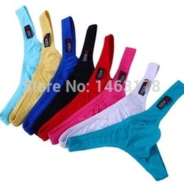 Wholesale Thong Men Cotton Low Waist - New Hot Sale Cheap Price Low Waist Mens Cotton Underwear Mens Thongs and G Strings Sexy Mens Pouch Penis Underware 7 Colors