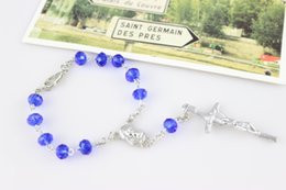 Wholesale Rosary Beaded Chains - Fashion Crystal Rosary Bracelets Women Beads Cross Rosary Religious Jewelry Accessories 6*8 mm Blue Purple Gray Wholesale