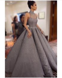 vestidos de fiesta mujer dubai Rebajas 2018 New Bling Grey Arabic Dubai Vestidos de noche Ropa para mujer Cuello alto Ilusión Encaje Cristal Vestidos de fiesta Vestidos de baile Vestidos de baile