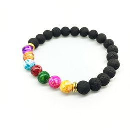 Wholesale Black Stretch Bracelets - New Natural Black Lava Stone Bracelets 7 Reiki Chakra Healing Balance Beads Bracelet for Men Women Stretch Yoga Jewelry