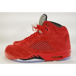 Wholesale Mens Leather Suits - Air Retro 5 V Red Suede Flight Suit Basketball Shoes 5s Mens Sneakers With Original Box 136027-602