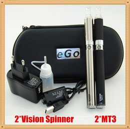 Wholesale Black Spinners - Vision Spinner Electronic cigarette kit with Vision Spinner e cigarette Variable Voltage battery and MT3 atomizer Vision Double Starter Kit