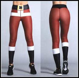 Wholesale Christmas Printed Leggings - Christmas 3D Printing Leggings Women Santa Claus Pattern Stretchy Sport Trousers Casual Yoga Pencil Pants CCA8370 20pcs