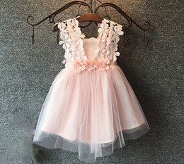 Wholesale 3d Crochet - 2016 Baby Girls Crochet Lace Tulle Dresses Kids Girl Summer 3D Flower Pearl TuTU Princess hallow out Dress Children's Korean Style Clothing