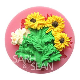 Cheap Sunflower Kitchen Decorations M0719 A Bunch Of Sunflowers Fondant Cake Molds Chocolate Mould For