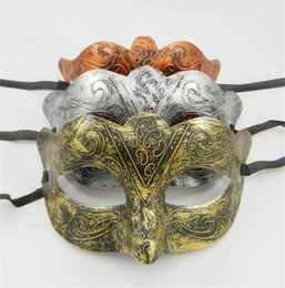 Wholesale Greek Decorations - Vintage Men Fox Half Face Masks Greek Roman Warriors Venetian Masquerade Party Mask Gold Silver Copper Halloween Chirstmas Decoration DC39