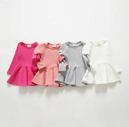 Wholesale Long Red Dress Wholesale - 2014 Autumn Fashion Girls Dresses Falbala long-sleeved dress T-shirts Baby Childen Clothes girl dress girls dress