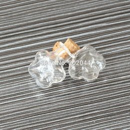 Wholesale clear decorative bottles - Wholesale- 20pcs 2*1.1cm 0.8*0.4 Cork Empty Small Tiny Clear Message Glass Bottles Charming Pendant Decorative Corked Mini Glass Bottle