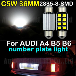 Wholesale Canbus Led Audi A4 - 2pcs Canbus Pure 36mm C5W White Led 2835 SMD Number Plate Light Bulb For Audi A4 [2004-2008] (B5) [1999-2000] (B6) [2000-2001]