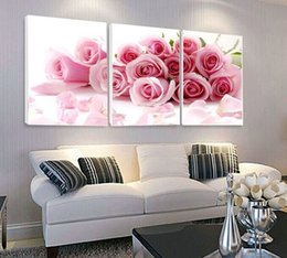 Wholesale Modern Canvas Art Roses Paintings - Hot Sale 3 Piece Modern Wall Painting Pink Rose Painting Pictures Home Decoration Art Picture Print on Canvas Frameless Painting