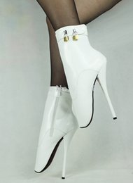 Wholesale High Heels Night Club - New hot sale 18CM EXTREME high heels boots women sexy white PU FETISH ballet ankle boots with 2 locks BDSM night club sexy shoes plus size