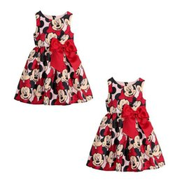 Wholesale Mouse Clothing Kids - Retail 2-7Y 2015 summer style Minnie Mouse princess dress for kids girls with big bow party children's dresses baby girl clothes 201508HX