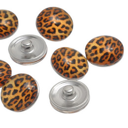 Wholesale Bracelet Animal Leopard - JACK88 New 60pcs lot Mix Styles Leopard Grain GLASS 18 mm Snap Button Snaps Fit Ginger Snap Button Charm Bracelet Jewelry N447