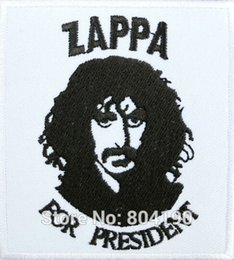 "Wholesale Rock Hats - 3"" ZAPPA For President Frank Zappa Music Rock Band LOGO Embroidered IRON ON Patch Applique Cap Hat Heavy Metal"