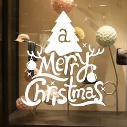 Wholesale Decorative Wall Decals Letters - Hot sale Cute Letters&Xmas Tree Merry Christmas Decorative Wall Sticker Decals Diy Art Home Décor free shipping