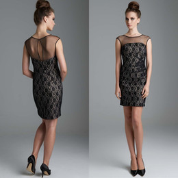 Wholesale Short Modest Homecoming Dress - Modest 2015 Cocktail Party Dresses Stunning Prom Dress Sexy Sheer Jewel Neck Elegant Hollow Back Black Lace Sheath Short Homecoming Gowns