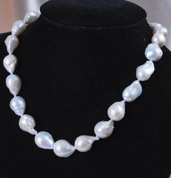 Wholesale Cheap White Gold Necklaces - Wholesale Cheap stunning big 15-25mm baroque white keshi reborn freshwater pearl necklace 18''