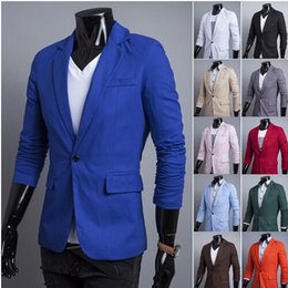 Wholesale Korean Outwear - 2015 spring Fashion New men suits blazers Korean Slim casual cardigan solid jacket coat outwear men's clothing