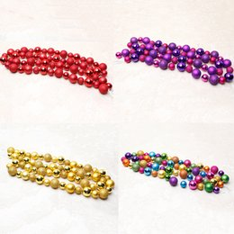 Wholesale Plastic String Beads - Wholesale- 2016 Christmas Balls Beads String Party Xmas Tree Decorations Hanging Pendant Ornament Home New Year Christmas Decoration R064