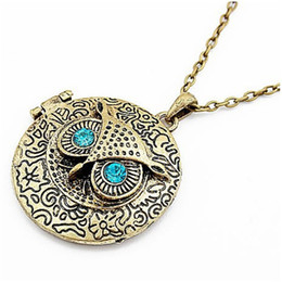 Wholesale Retro Photo Boxes - Fashion Retro Owl Necklaces Bronze Cute Round Blue Eye Owl Photo Frame Box Long Sweater Chain for Women Girl's Carve Reminiscence Jewelry