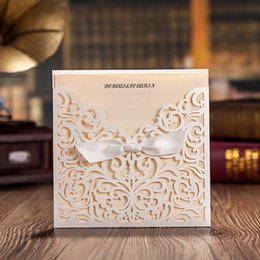 Wholesale wedding invite cards free - Lace Hollow Flora Wedding Invitations with white bowknot Square Design Free Personlized Printable Wedding Invites Cards Dropship