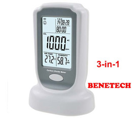 Wholesale Co2 Humidity Meter - Wholesale-BENETECH GM8802 Handheld 3 in1 CO2 monitor meter detector Carbon Dioxide Detector Temperature Humidity test free shipping