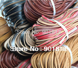 Wholesale Wholesale 8mm Leather Band - Wholesale-5meters bag 8mm width real cow leather cord flat leather band jewelry accessories F15