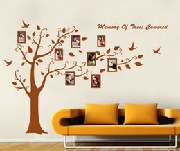 Wholesale Christmas Picture Wall - Christmas promotion 250*180cm Brown Photo frame tree Family Picture DIY Removable Art Vinyl Wall Stickers Decor Mural Decal