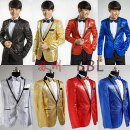 Wholesale Stage Clothing Gold - Wholesale-Paillette Male Master Sequins Dresses Stage Costumes Men Suit MC Host Clothing Singer Suits Blazer Show Jacket Outerwear A573