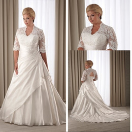 Wholesale Champagne Wedding Gowns Prices - Vintage Style A Line V-neck Plus Size Wedding Dresses With Half Sleeve Chapel Train Appliques Low Price Wedding Bridal Gowns 2015