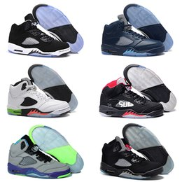 Wholesale Fresh High - 2016 air high quality retro 5 mans Basketball shoes Black Grape Leather Oreo Black Fresh Prince space jam Green Bean Mark Ballas