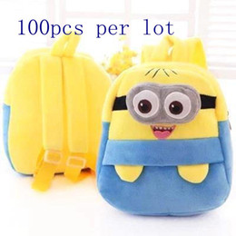 Wholesale Despicable Plush Backpack - 2015 new style lovely cartoon cute Despicable Me Minion minifigure plush backpack school backpack for kids high quality